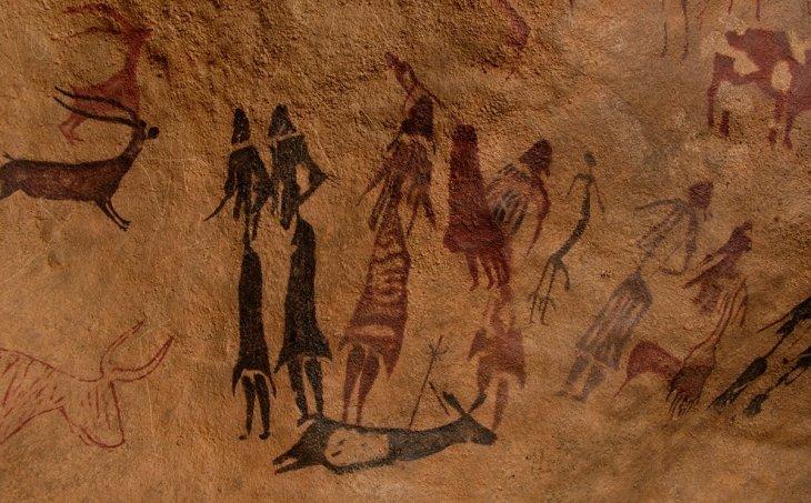 Reproducció d'una de les pintures rupestres de la Roca dels Moros del Cogul