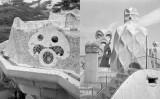Fotografies de Joaquim Gomis del parc Güell i del terrat de la Casa Milà, realitzades el 1946