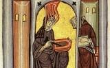 Miniatura del còdex de Wiesbaden en què apareix Hildegarda von Bingen