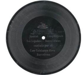 Disc de goma laca (disc de pedra de 70 rpm) amb 'Els segadors'