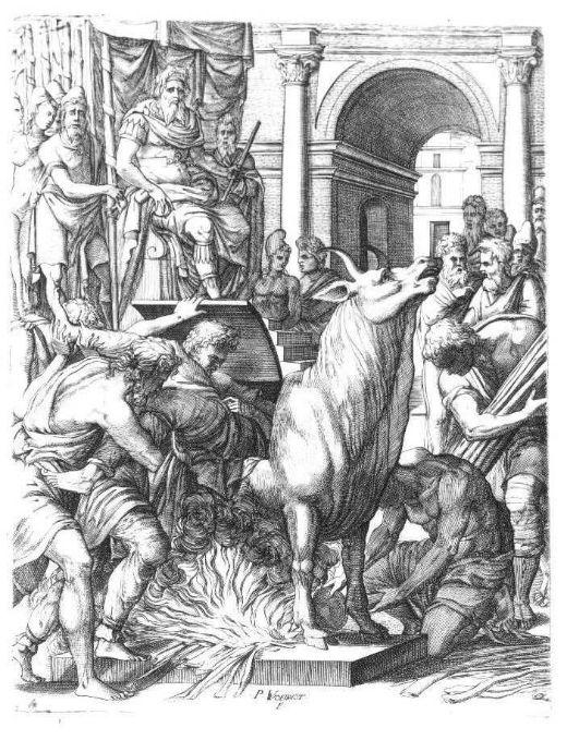 Falaris condemnant l'escultor Perillus a morir cremat dins el brau de bronze, el seu instrument de tortura favorit -  Pierre Woeiriot / Wikimedia commons