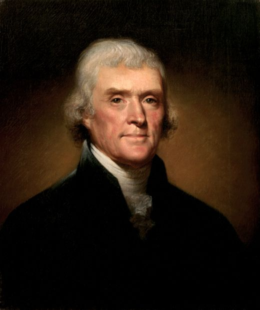 Retrat de Thomas Jefferson (1800) -  Rembrandt Peale / White House Historical Association / Wikimedia Commons