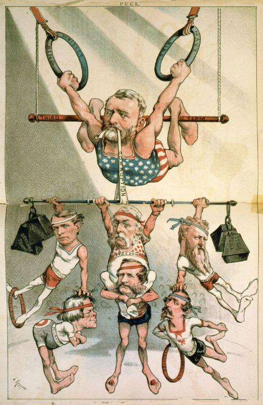 Caricatura que mostra Ulysses S. Grant com un acròbata sostenint-se amb les 'Whiskey Ring' (anella del whisky). Publicada a la revista satírica 'Puck' (1880) -  Joseph Keppler / Wikimedia Commons