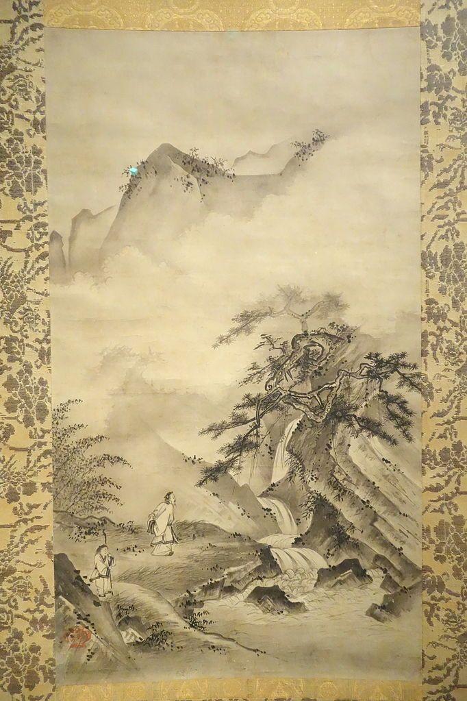 Li Bai observant una cascada. Quadre de Soami (1525) -  Daderot / Wikimedia Commons