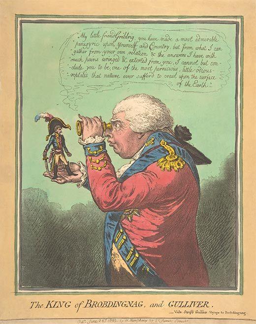 Caricatura de Napoleó feta per James Gillray en què el rei Jordi III inspecciona l'emperador francès amb una lupa