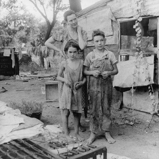 Mare i fills durant la Gran Depressió a Oklahoma, els Estats Units (agost 1936) -  Dorothea Lang / Library of Congress / Wikimedia Commons