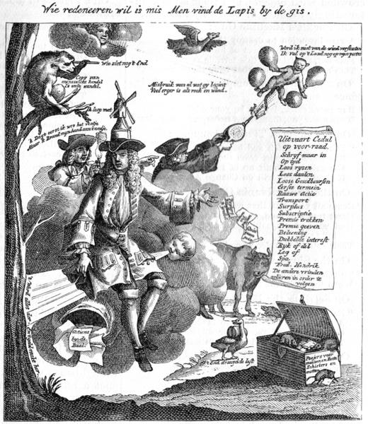 Caricatura de l'especulador John Law publicada el juny de 1875 a 'Harper's New Monthly Magazine' -  Chowbok / Wikimedia Commons