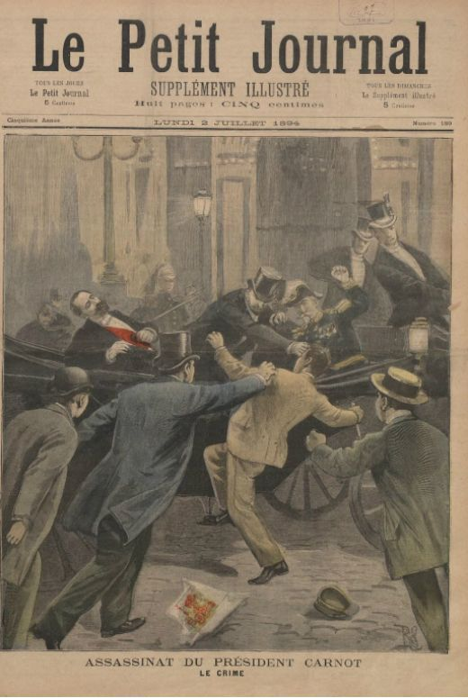 Il·lustració de l'assassinat del president Sadi Carnot. 2 de juliol del 1894 -  Desconegut / Wikimedia commons