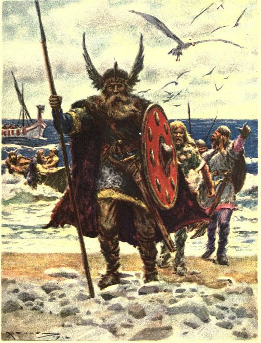 Leif Eriksson arribant a les costes nord-americanes (1919) -  Marshall, H. E. / Wikimedia commons