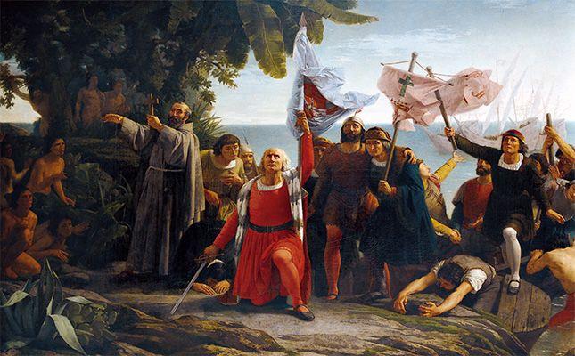 Visió romàntica de l'arribada de Colom a Amèrica -  Dióscoro Puebla / Wikimedia Commons