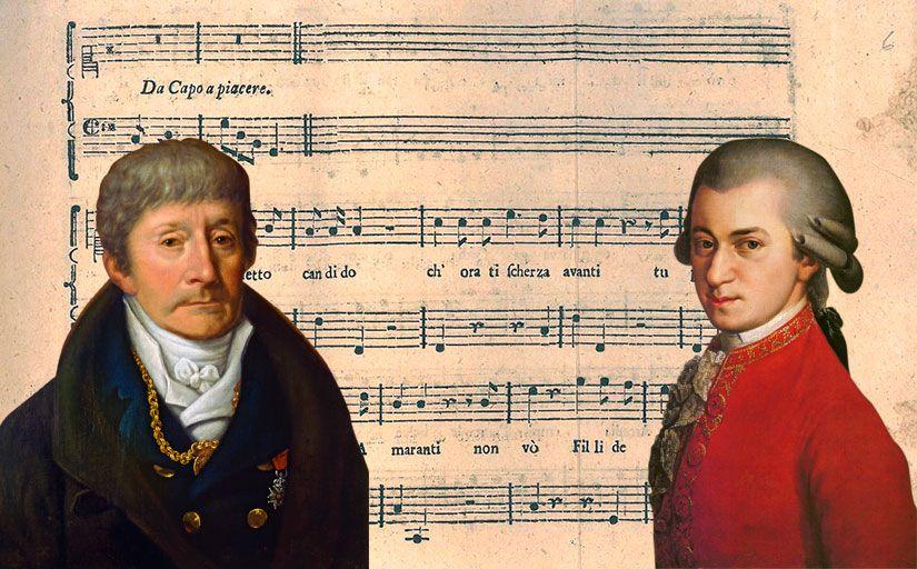 Muntatge de Salieri i Mozart amb la partitura de 'Per la ricuperata salute di Ofelia' al fons