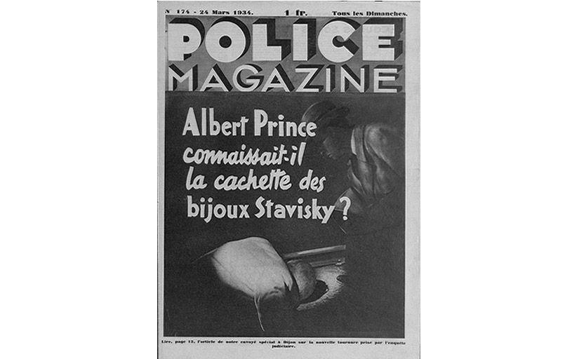 Portada del 'Police Magazine' amb la pregunta: 'Albert Prince coneixia l'amagatall de les joies de Stavisky?' -  Wikimedia Commons
