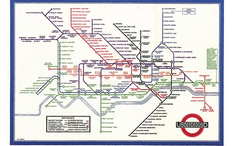 Mapa diagramàtic del metro de Londres dissenyat per Harry Beck -  Wikimedia Commons