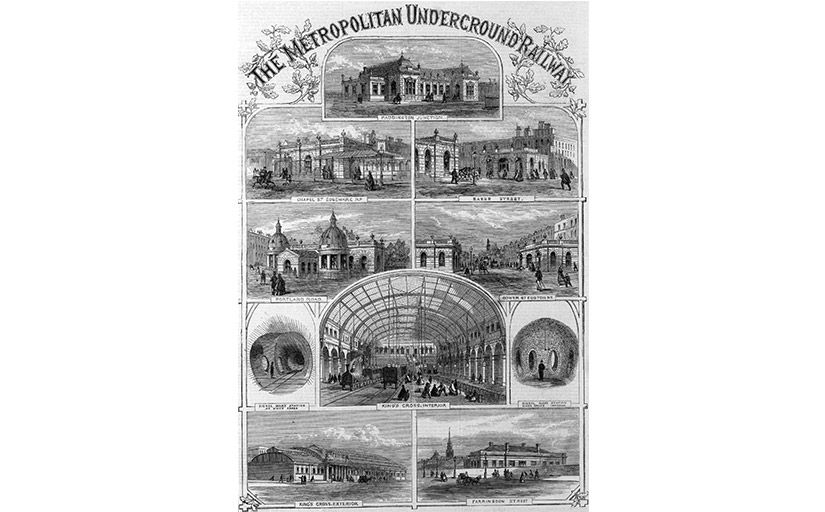 Muntatge de diverses estacions del Metropolitan Railway publicat a 'Illustrated London News' (desembre del 1862) -  Wikimedia Commons