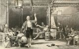 Gravat on es poden veure alguns xinesos fumant opi (1858)<br /> -  Thomas Allom