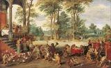 L'evolució, invertida. A 'Sàtira de la tulipomania', de Jan Brueghel el Jove, el pintor va convertir els seus conciutadans en micos, burlant-se de la seva actitud durant la bombolla. N'hi ha que negocien, d'altres compten diners i encara uns altres escri