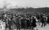 Grup de persones jueves a l'arribada a Auschwitz l'any 1944