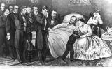 Gravat del president Lincoln al seu llit de mort (1865) -  Curier & Ives / Wikimedia commons