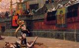 En aquest llenç del segle XIX es pot veure el públic fentel gest del polze cap avall a un gladiador -  Wikimedia Commons