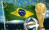 La bandera del Brasil, la pilota del Mundial i el trofeu -  VectorOpenStock