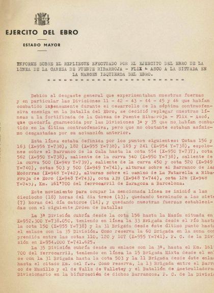 Primera pàgina de l'informe sobre la retirada de la batalla de l'Ebre