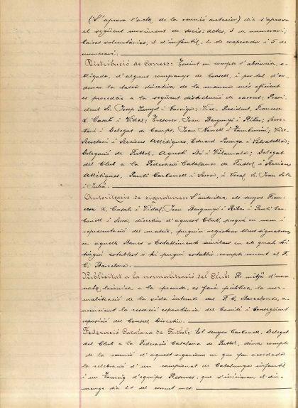 Pàgina de l'acta de la Junta Directiva del Barça del novembre del 1937, on es nomena Francesc Casals president accidental del Club davant l''absència' de Sunyol
