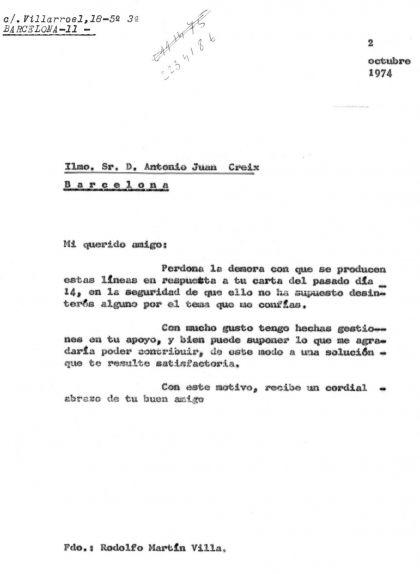Carta de Rodolfo Martín Villa al comissari Creix