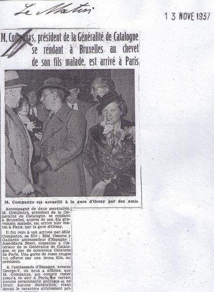 Notícia publicada el 13 de novembre de 1937 a un diari francès anunciant l'arribada de Lluís Companys a París, acompanyat de Carme Ballester