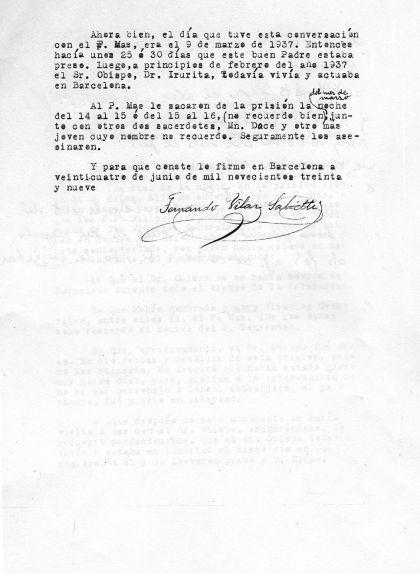 Segona pàgina de la carta del mossèn Fernando Vilar
