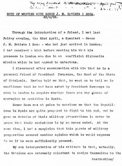 El primer informe de Batista, un resum de l'entrevista de Batista amb Wentworth-Sheilds