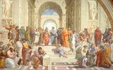Al llenç de Rafael 'L'escola d'Atenes' Pitàgores apareix al cantó inferior esquerre, amb un llibre a les mans