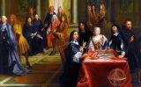 Descartes al llenç 'Descartes a la Cort de la reina Cristina de Suècia', de Pierre Louis Dumesnil
