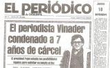 Portada d'El Periódico del 19 de novembre de 1981 informant de la condemna a Xavier Vinader