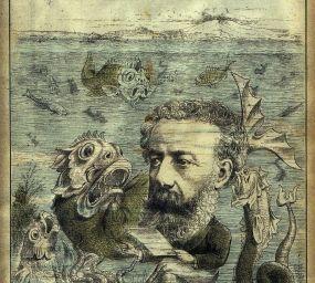 Caricatura de Jules Verne amb una de les seves criatures marines publicada a la revista 'L'Algerie', el 15 de juny de 1884