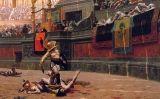 En aquest llenç del segle XIX es pot veure el públic fentel gest del polze cap avall a un gladiador