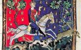 Representació de Joan sense terra de cacera al manuscrit 'De Rege Johanne'