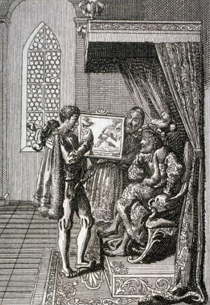 'Colom oferint els seus serveis al Rei de Portugal', de Chodowiecki (s. XVII)