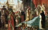 'El retorn de Cristòfor Colom; la seva audiència davant el rei Ferran i la reina Isabel', d'Eugène Delacroix