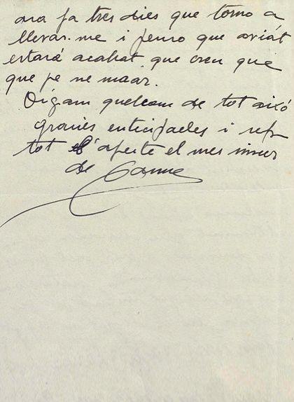 Tercera i última pàgina de la carta a Tarradellas del 22 de gener de 1949 (?)