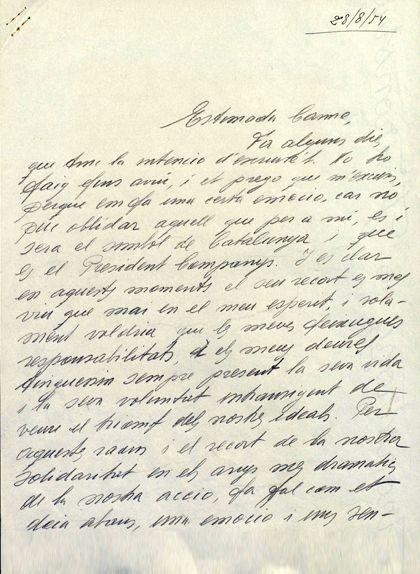 Primera pàgina de la carta de Tarradellas a Ballester del 28 d'agost de 1945