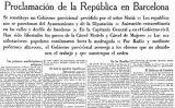 Notícia sobre la proclamació de la República publicada el 15 d'abril de 1931 a 'La Vanguardia'