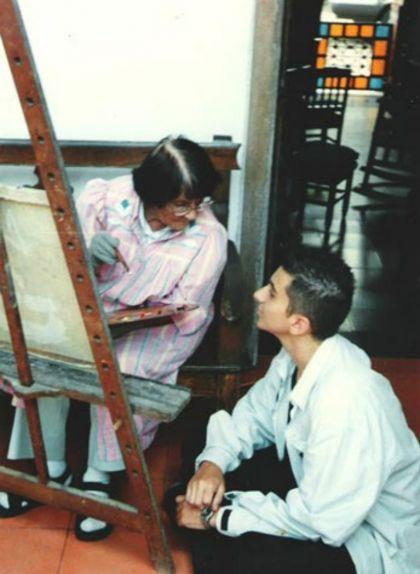 Débora Arango i el seu alumne Joaquín Restrepo