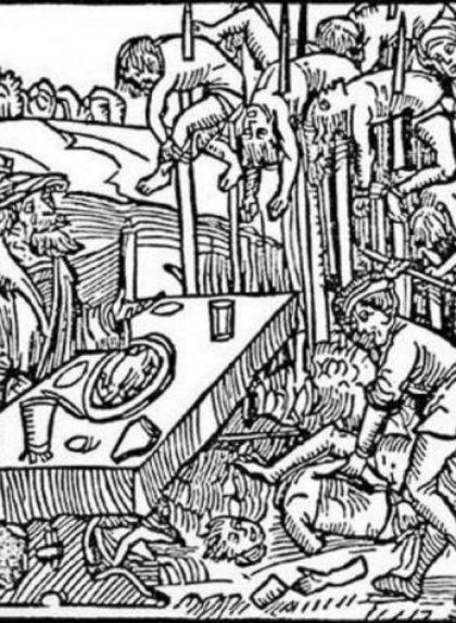 Gravat en fusta alemany de l'any 1499 que mostra com Dràcula menja envoltat de cadàvers empalats