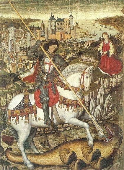 Retaule de Sant Jordi de Pere Niçard (1468) amb la ciutat de Mallorca idelitzada al fons