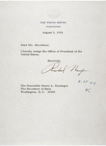 Carta de la renúncia de Richard Nixon el 9 d'agost de 1974