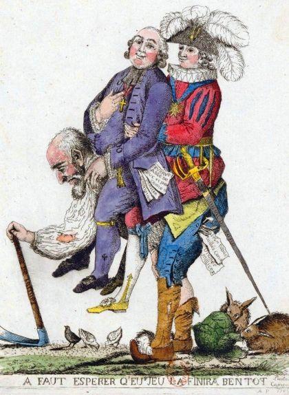Caricatura que mostra un camperol que duu a coll un clergue i un noble. Representa el pes dels impostos que pagaven els camperols