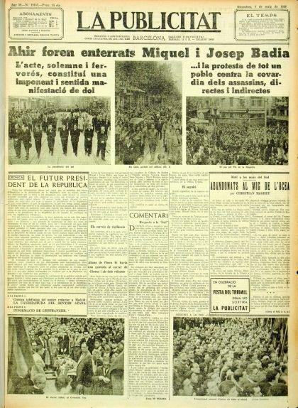 Portada de 'La Publicitat' de l'1 de maig del 1936 en què el titular destacat és l'enterrament dels germans Badia