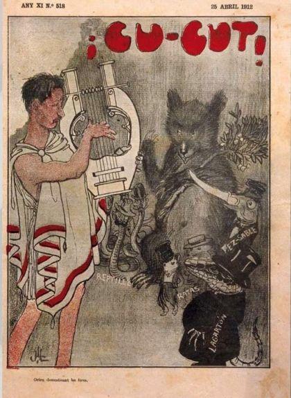 La música amanseix les feres: el mestre Millet és Orfeu tocant la lira als inferns davant de l'ós de l'escut madrileny, rates, rèptils, un peix sabre i un llangardaix amb barret de copa.