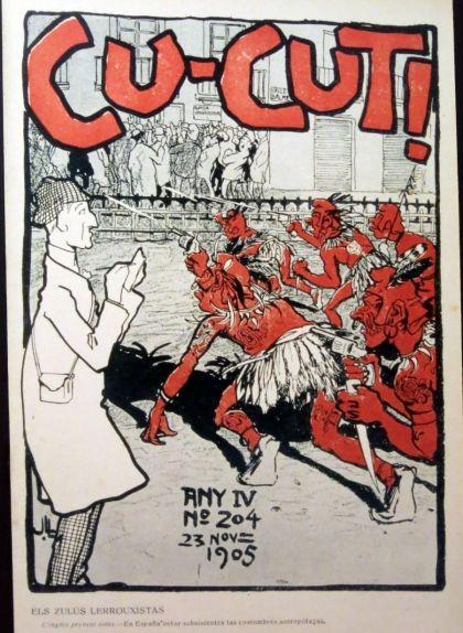 """El número 204 del 'Cu-Cut!', publicat el 23 de novembre de 1905, portava per títol """"Els zulús lerrouxistas"""""""