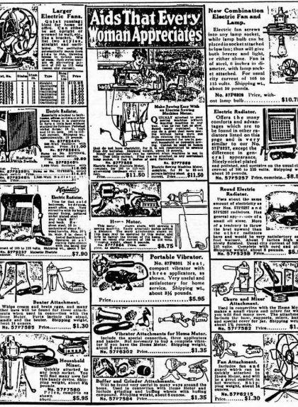 Catàleg de Sears del 1918 on s'hi poden veure anuncis de vibradors